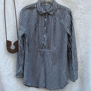 J. Crew Checked Pullover Blouse